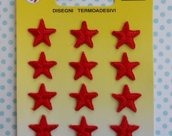 Iron on Embroidered Thermo-Adhesive Red Stars 12 pcs