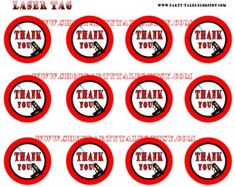 LASER TAG Birthday Boy Party Printable Thanks you favor tags Instant download