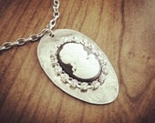 Recycled Antique Spoon Necklace with Vintage Cameo and Rhinestones