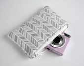 Chevron zigzag arrow MP3 gadget Padded camera make up cosmetics pouch stripe print fabric in two tone grey.
