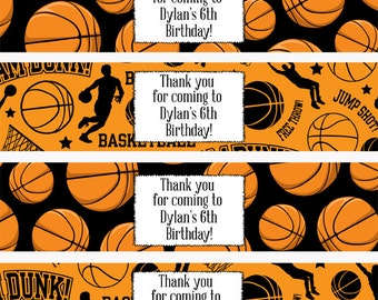 Basketball Water Bottle Labels, Sports Water Bottle Labels, Basketball Party, Basketball Party Favors, Sports Drink Wrap (78)