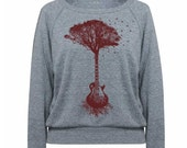 Womens Sweatshirt Guitar Tree Tri-Blend Raglan Pullover - American Apparel - S M and L (8 Color Options)