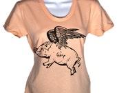 Women's T Shirt Flying Pig T-Shirt - American Apparel Tshirt - S M L XL (15 Color Options)