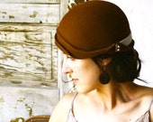 Hat 1930s-Style, Brown with Antique Pearl Buttons Made to  Order