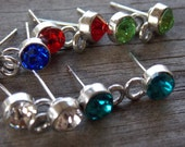 5 pairs Crystal Post Earrings with Loop Silver Plated Assorted Colors 7mm Rhinestone Clear Teal Red Green and Blue