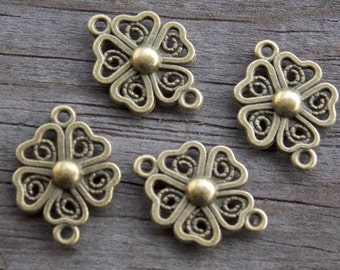 12 Bronze Shamrock Connector Charms  21mm