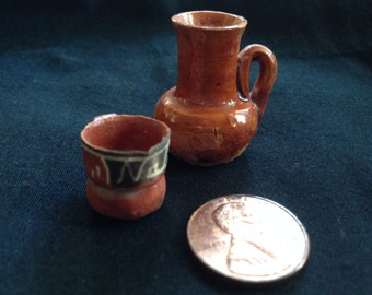 Vintage Native American dollhouse MIniature Vase Clay Pitcher and Cup