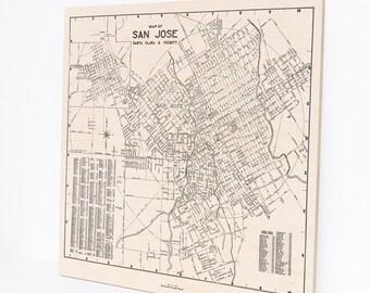 Wood Print Map, San Jose California, Home Decor Art