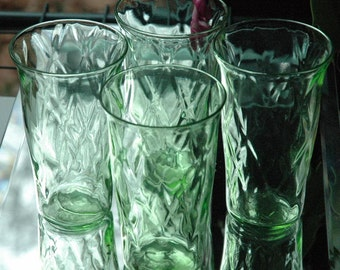 Vintage Blown Green Glass Juice Tumblers Quilted Optic Diamond Blacklight Sensitive - FREE SHIPPING
