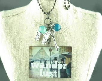 Wanderlust Necklace, Travel Necklace, Charm Necklace, Rainy Day in Paris, Travel Jewelry, Wanderlust Jewelry, Painting Necklace