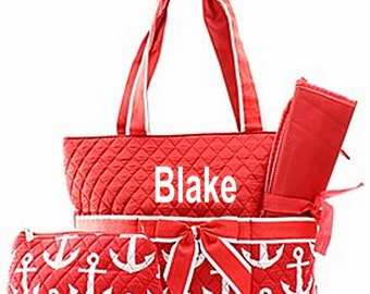 Personalized Anchor Diaper Bag Set Baby Boy or Girl  Red & White Diaperbag 3 piece set Monogrammed FREE