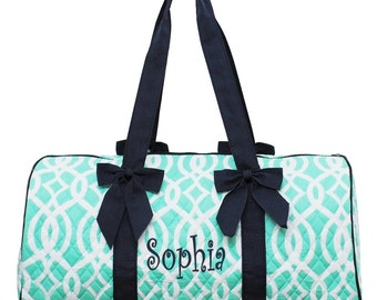 Personalized Geometric Vine Pattern Quilted Duffel Bag - Green & White with Navy Trim  Girls Dance or Gym Duffel FREE Monogram