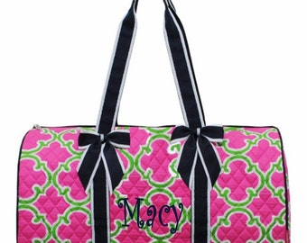 Personalized Quilted Large Quatrefoil Duffel Bag Gym Dance or Overnight Hot Pink & Lime with Navy Trim - Monogram FREE