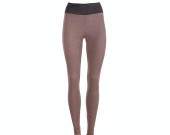 Womens leggings, vegan suede leggings, yoga leggings / pants / tights - S M L XL
