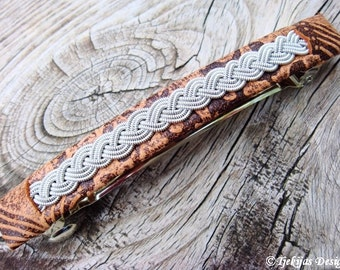 Sami Hair Clip SLEIPNER Viking Leather Barrette in unique Brown Lambskin with braided spun Pewter wire - Custom Handmade Nordic Design