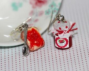 Breakfast Earrings - Strawberry Jam Earrings - Miniature Food Earrings - Miniature Food jewelry