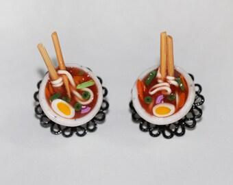 Ramen Noodle Earrings - Ramen Bowl Earrings - Spaghetti Earrings - food Earrings - Miniature Food Jewelry - Noodle Earrings