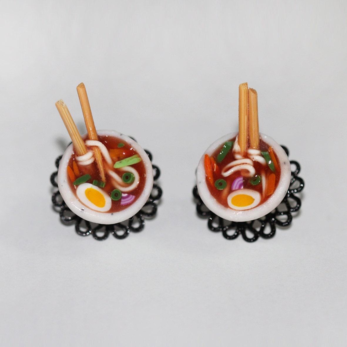 Ramen Noodle Earrings Ramen Bowl Earrings Spaghetti