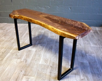 YOUR CUSTOM Black Walnut Live Edge CONSOLE Table - Natural - Rustic - Modern