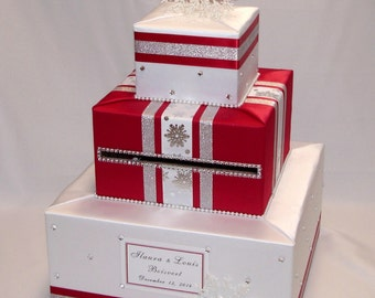 Winter-Snowflakes-Christmas theme Wedding card Box-any colors