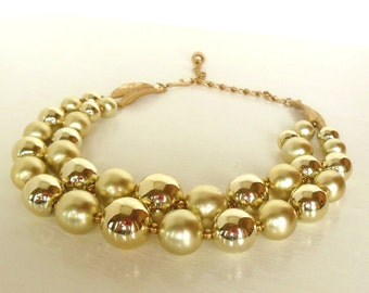 """Vintage Gold Necklace Choker Bead Double Strand Plastic 16"""" 50's (item 12)"""