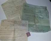 D Vintage ephemera lot 1944 New York Central Train System handwritten receipts old paper supplies mixed media scrap projects