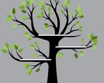 Vinyl Tree, bookshelf tree, vinyl wall art, tree wall decal,