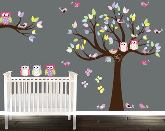 Baby owls for Easter - Owl wall decals - nursery decal - stickers abre - nursery stickers - birds butterflies