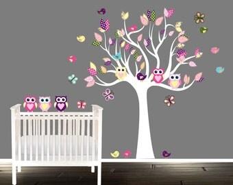 tree decal SET, nursery Wall stickers, Tree Decals, wall decal, Nursery wall art, girls, pink, purple