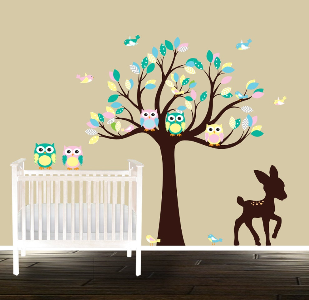 Nursery Decals Peel And Stick Owl Wall Decals By