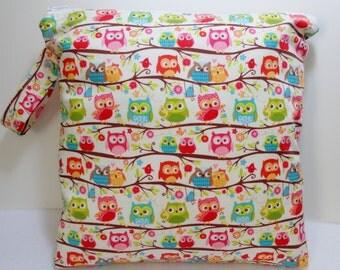 Owls on a Branch print, Medium Wet Bag. Heat sealed seams. Ready to Ship