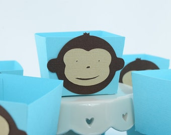 Monkey Candy Cups, Monkey Baby shower Theme, Monkey Birthday, Boy Baby Shower, Blue Turquoise and Brown Theme