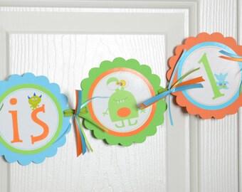 Monster Name Banner, Monster Banner, Birthday Party, Monster Theme,  Turquoise, Orange and Lime Green