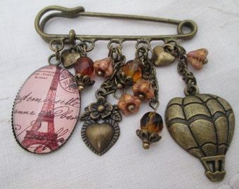 Kilt pin brooch - Eiffel Tower, Paris, hot air balloon, heart retro bronze pink sepia