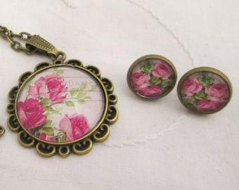 Pendant and earrings set - pink roses postmark cabochon bronze retro