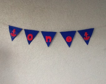 NAUTICAL/ANCHOR/ I am one /felt Banner/garland/ First birthday party banner and photo prop