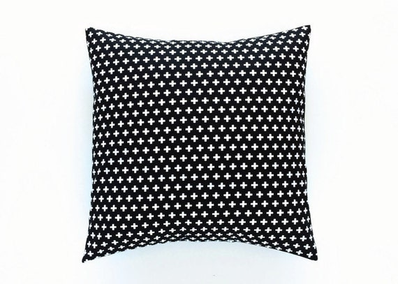 Black and White Small Plus Throw Pillow Cover. by thebluebirdshop