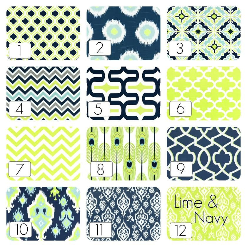 Lime Green Kitchen Blinds: Lime Green And Navy Blue Curtain Panels. 63 84 By