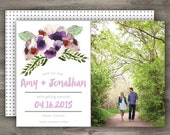 Floral Watercolor Wedding Save the Date  // Garden Wedding Save the Date // Photo Save the Date