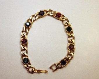 Vintage Jewelled Bracelet / Rhinestone / Gold Tone / Jewelry / Jewellry / Glass