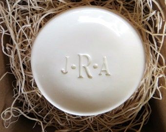 wedding ring holder, Monogrammed ring dish,  initial tray,  White,  Gift Boxed, Made to Order