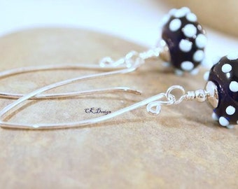 SALE Artisan Lampwork Glass Beads, Sterling Silver, Blue Lampwork Beaded Pierce Earrings. OOAK Handmade Earrings. CKDesigns.us