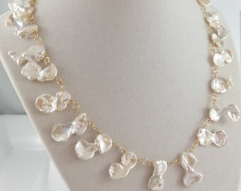 Keshi Petal Pearl necklace, bridal jewelry, white freshwater pearls, wedding, gold: Simply Adorned