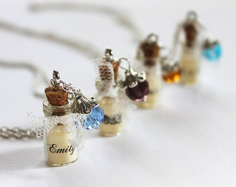 Set of 4 Birthstone Jewelry, Name Necklaces, Vial Necklace, Bridesmaid Gift, Personalized Jewelry, Lace Necklace, Will You Be My Bridesmaid