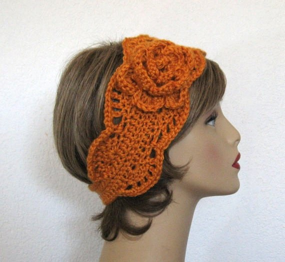 Mustard Headband with Flower Mustard Ear warmer Mustard Knit Earwarmer Gold Head Band Gold headband Pumpkin Earwarmer Pumpkin Headband