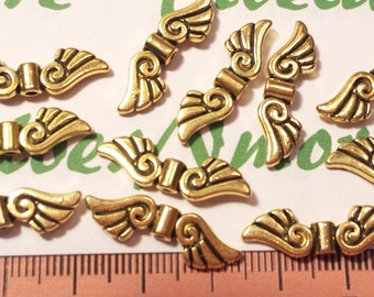 12 pcs per pack of 25x7mm Angel Wing Beads Antique Gold Finish Lead Free Pewter