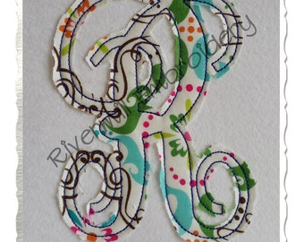 Raggy Fancy Monogram Applique Machine Embroidery Font Alphabet - 4 Sizes