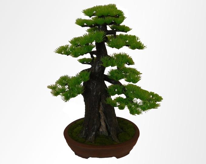 bonsai tree artificial pine in real ceramic bonsai pot hand crafted zen decor