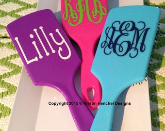 Monogram paddle hair brush - name or initials