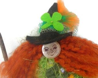 St Patrick's Day Kitchen Witch Doll Halloween Witch doll HAGUILD Primitive Irish Kitty